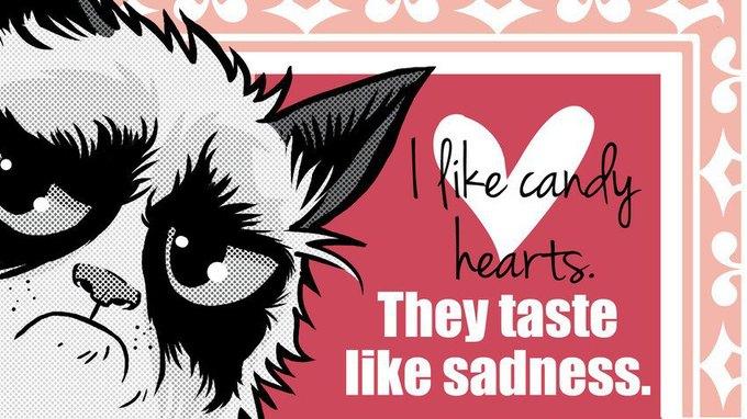 Grumpy Cat стала героиней угрюмых валентинок. Изображение № 6.