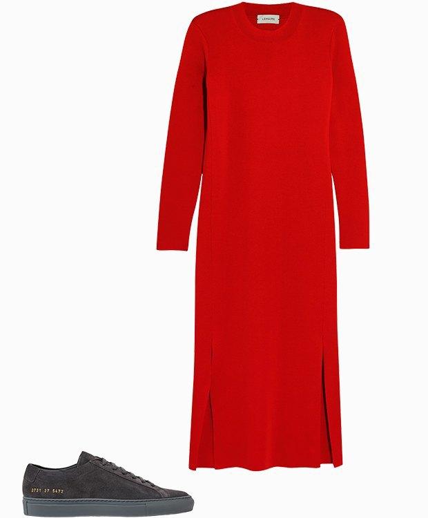 Комбо: Трикотажное платье с кроссовками. Изображение № 3.