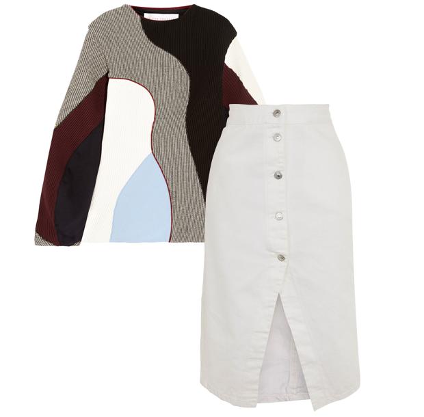 Комбо: Трикотажный свитер с юбкой миди. Изображение № 2.