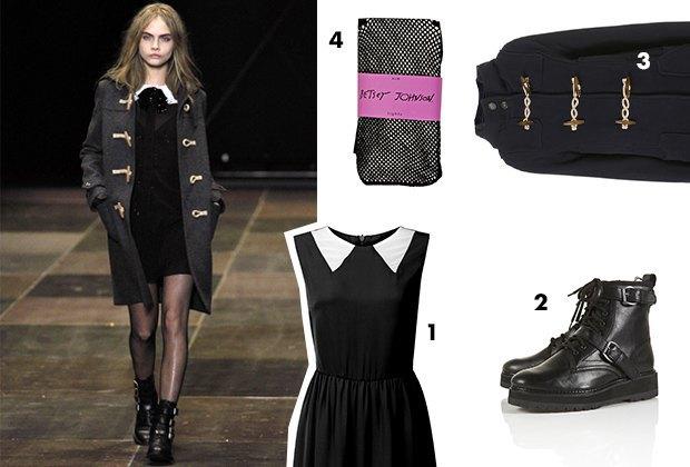 1. Платье Glamourous; 2. Ботинки Topshop; 3. Пальто Topshop; 4. Колготки Betsey Johnson. Изображение № 1.