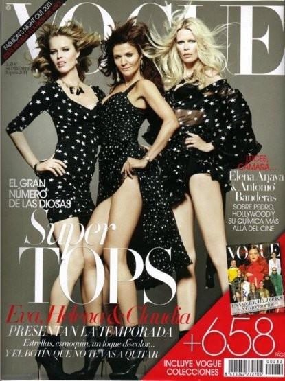 Ева Герцигова, Хелена Кристенсен и Клаудия Шиффер на обложке итальянского Vogue, сентябрь 2011. Изображение № 24.