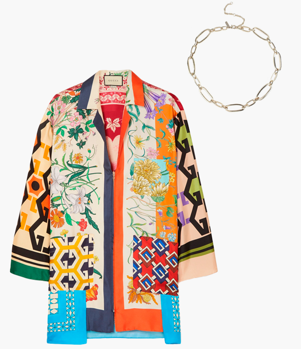 Комбо: Блуза с «платочным» принтом с массивной цепочкой. Изображение № 3.