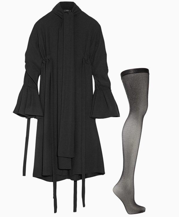 Комбо: Нарядное платье с колготками в сетку. Изображение № 3.