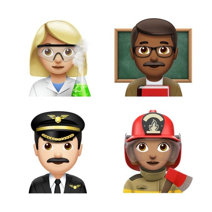 В iOS 10.2 появились десятки женских эмодзи  с профессиями. Изображение № 1.