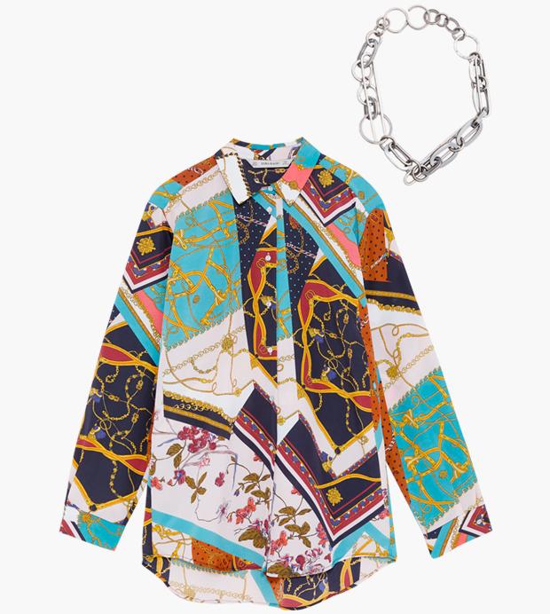 Комбо: Блуза с «платочным» принтом с массивной цепочкой. Изображение № 1.