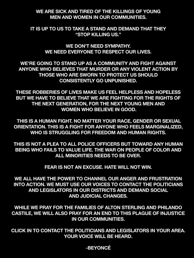 #BlackLivesMatter: Бейонсе, Дрейк и Jay Z о полицейском произволе. Изображение № 1.