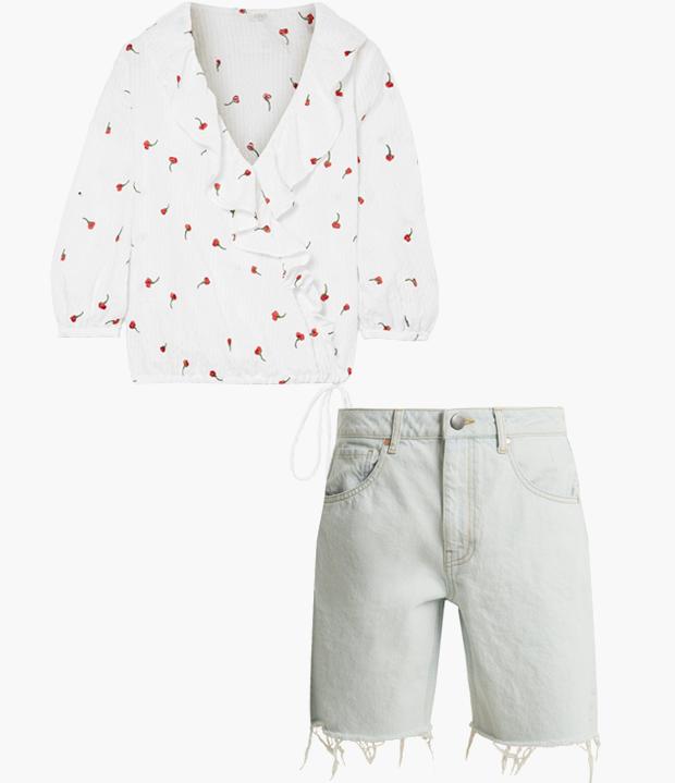 Комбо: Блуза с вырезом с джинсовыми бермудами. Изображение № 1.