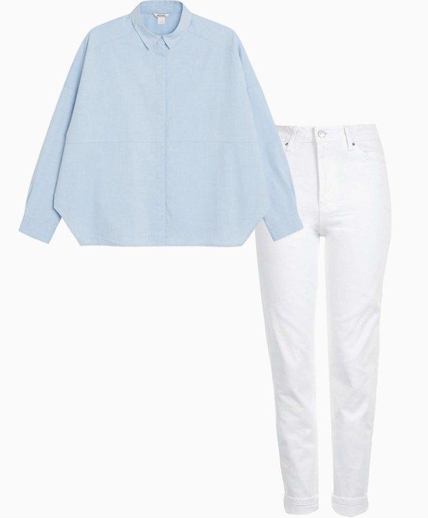 Комбо: Рубашка с белыми джинсами. Изображение № 1.