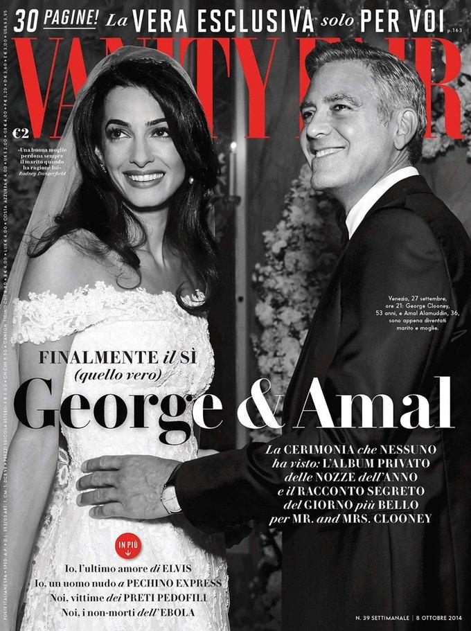 Свадьба Джорджа Клуни  и Амаль Аламуддин —  на обложке Vanity Fair. Изображение № 1.