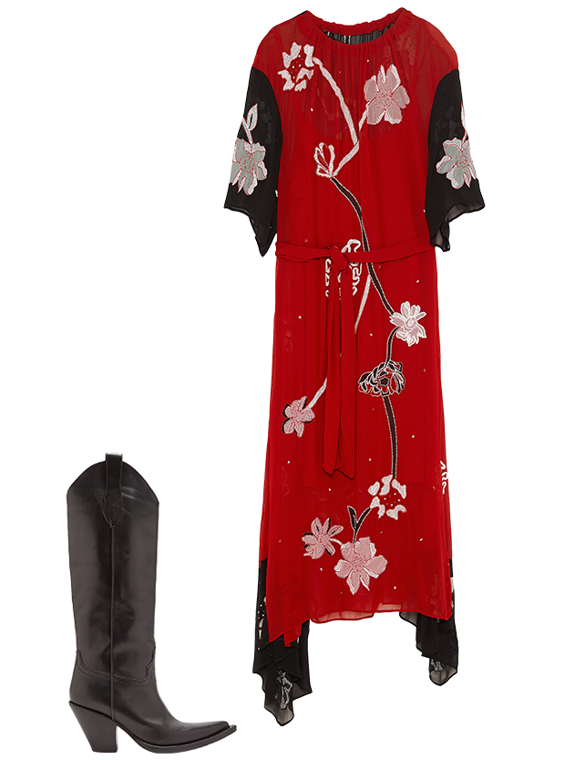 Комбо: Платье миди с сапогами. Изображение № 2.