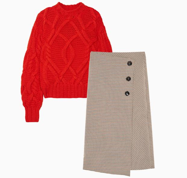 Комбо: Трикотажный свитер с юбкой миди. Изображение № 1.
