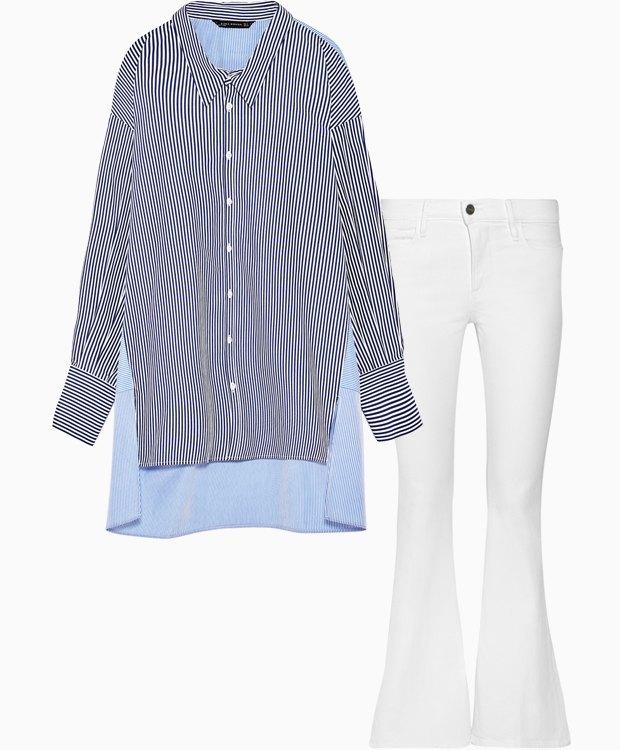 Комбо: Рубашка с белыми джинсами. Изображение № 3.