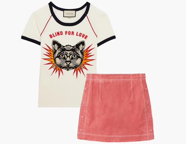 Комбо: Псевдовинтажная футболка с мини-юбкой. Изображение № 1.