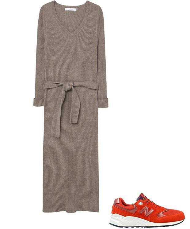Комбо: Трикотажное платье с кроссовками. Изображение № 2.