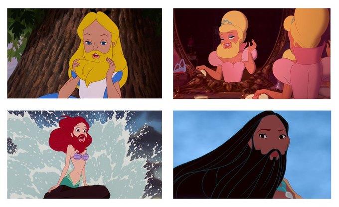 Прошлогодний мем с бородатыми диснеевскими принцессами сейчас как никогда актуален. Изображение № 2.