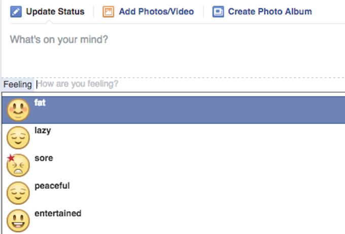 Facebook ликвидировали статус «чувствую себя жирным». Изображение № 1.