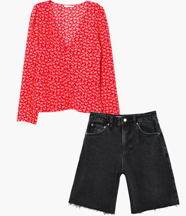 Комбо: Блуза с вырезом с джинсовыми бермудами. Изображение № 3.