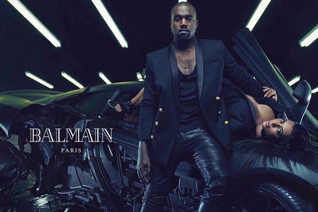 Страстные и роскошные: Ким и Канье украсили собой рекламу Balmain. Изображение № 2.