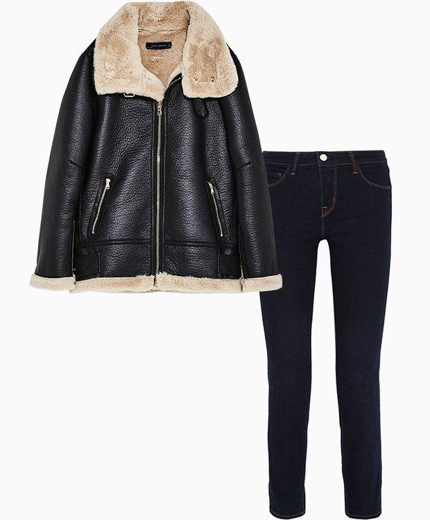Комбо: Дублёнка c укороченными джинсами. Изображение № 1.