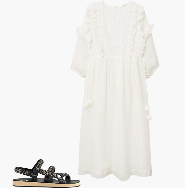 Комбо: Чайное платье со спортивными сандалиями. Изображение № 3.