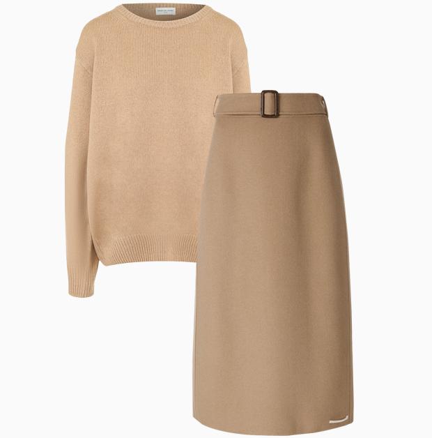 Комбо: Трикотажный свитер с юбкой миди. Изображение № 3.