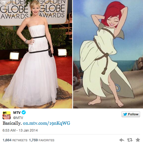 Платье Дженнифер Лоуренс с «Золотого глобуса» стало мемом. Изображение № 5.