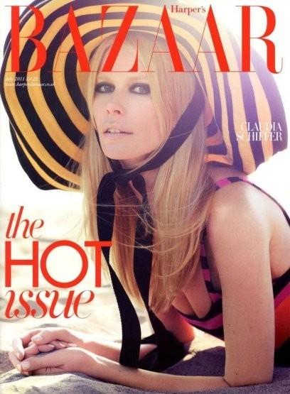 Клаудия Шиффер на обложке британского Harper's Bazaar, июль 2011. Изображение № 13.