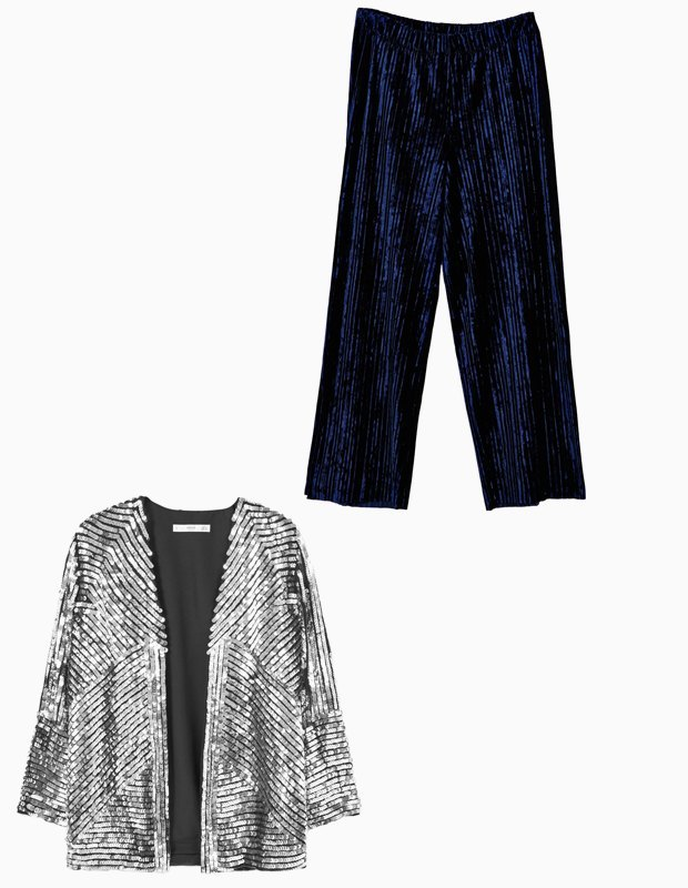 Комбо: Жакет в пайетках c пижамными брюками. Изображение № 3.
