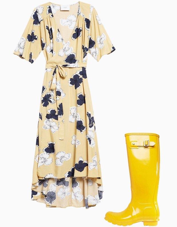 Комбо: Платье с резиновыми сапогами. Изображение № 1.