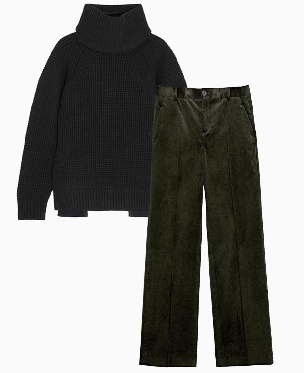 Комбо: Вельветовые брюки с шерстяным свитером. Изображение № 1.